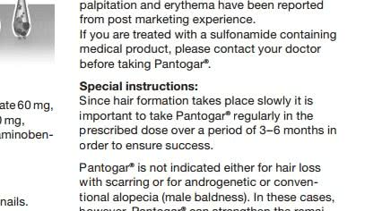 パントガールの説明書には効果がでるまで3~6ヶ月間かかると記載