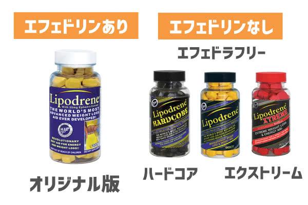 リポドリンの種類(エフェドリンあり・エフェドラフリー・ハードコア・エクストリーム)