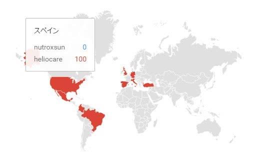 ヘリオケアとニュートロックスサンのGoogleトレンドのスペインでの人気比較