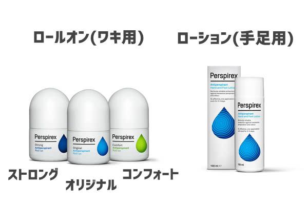 パースピレックスの種類(ロールオンオリジナル・コンフォート・ストロング・ローション)