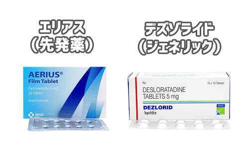 個人輸入デザレックスのエリアス(Aerius)とデズゾライド(Dezlorid)