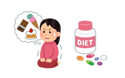 ダイエットサプリメントで食欲を抑える女性のイラスト
